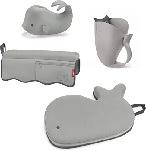 Skip Hop Moby Baby Bath Set with Four Bathtime Essentials, Spout Cover, Bath Kneeler, Elbow Pad, and Waterfall Rinser...