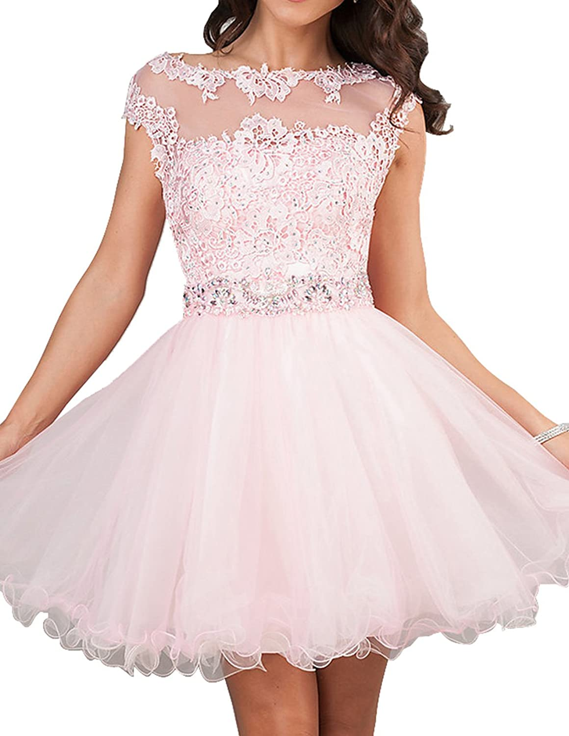 Yang Women Sheer Neck Lace Girls Homecoming Dress School Party Gowns