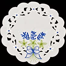 Linens, Art and Things Embroidered Blue Bonnets on White 11 Inch Round Doilies or Place Mats Set of 2