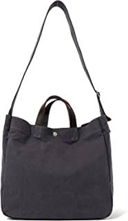 Heavy Duty Canvas Travel Tote Handbag Shoulder Bag Crossbody Bags for Men & Women Leather Handle & Strap (Charcoal Upgraded)