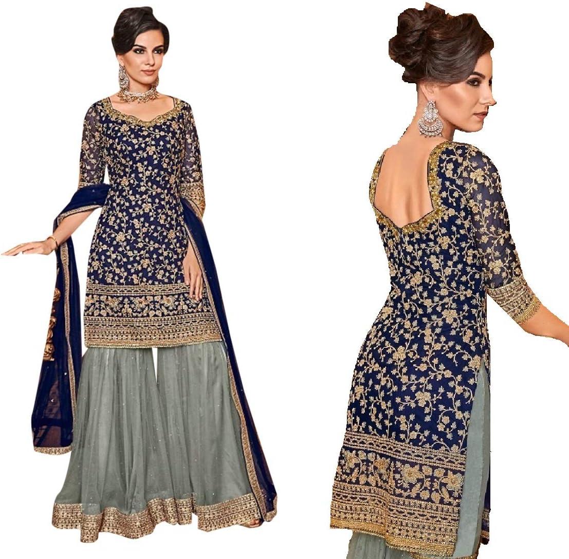 Blue Grey Net Muslim Sharara Heavy Party Punjabi Palazzo Suit with Kurti Salwar Kameez Indian Women 8934
