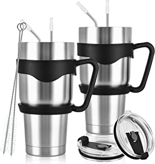 2 Pack Insulated Travel Tumblers for Home School Office Camping, Stainless Steel Double Wall Vacuum Travel Tumbler with 2 Handles, 2 Lids, 4 Straws, 2 Straw Brushes, 1 Cup Brush (30oz, Silver)