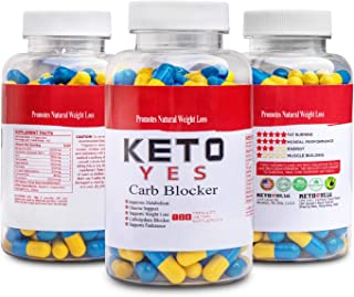 KETO Yes Carb Blocker - Blocks the absorption of Carbohydrates and redirects them into muscles. Promotes healthy weight loss. Clinically tested. More effective than White Kidney Bean Extract.