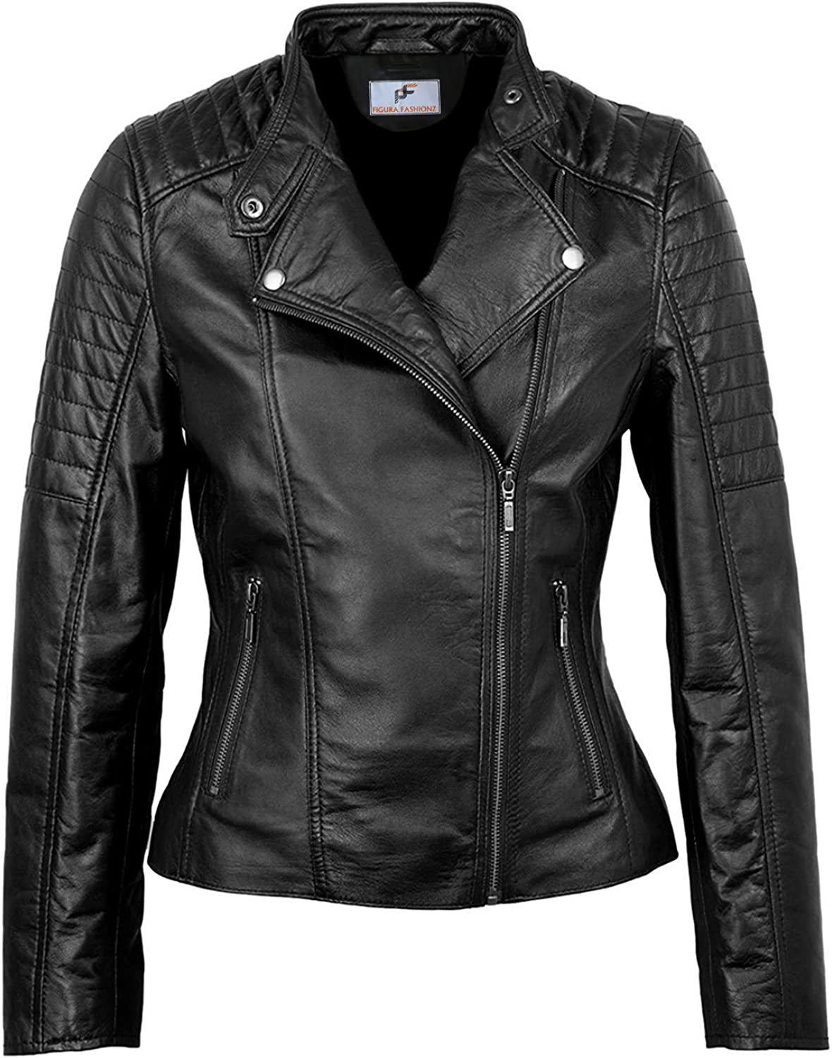 Figura Fashionz Notch Collar Quilted Faux Leather Jacket for Women - Biker Look Black Faux Leather Jacket for Women