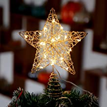 Rattan Star Christmas Tree Topper Lighted with LED String Lights, Wire Weaving, Battery Powered, 7 inch Star Tree Topper f...