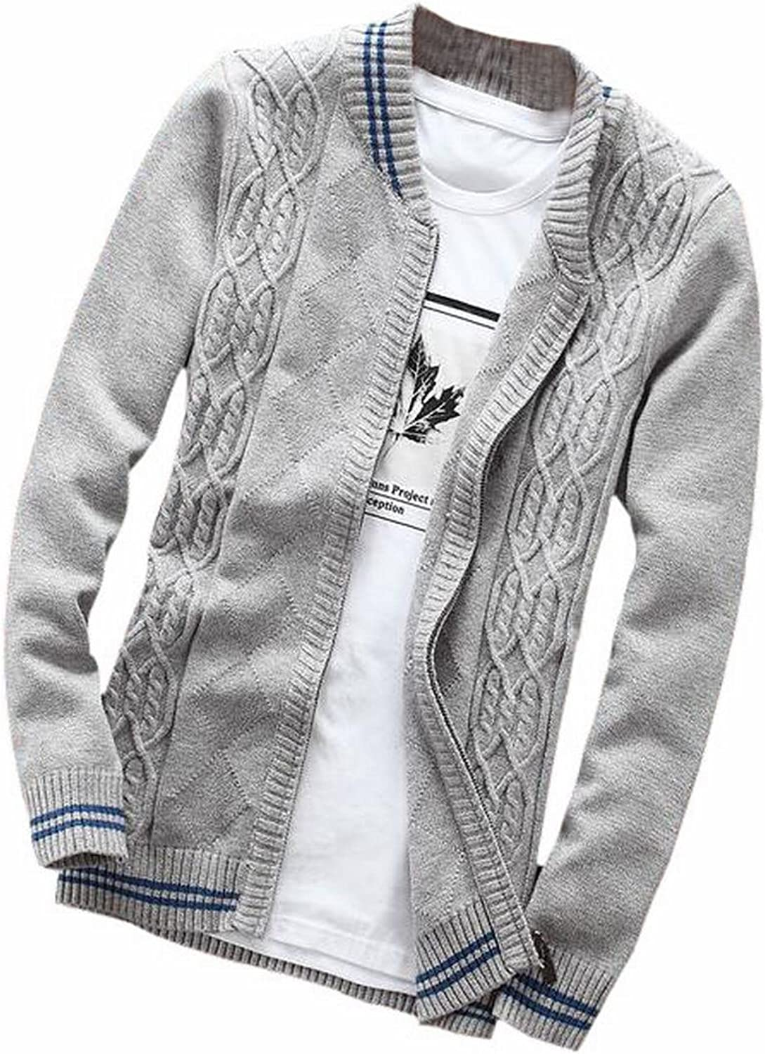 Pivaconis Mens Casual Knitted Cardigan Zip-up with Twisted Pattern