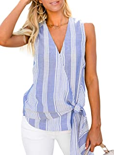 Womens Solid Blouse Tank Tops Summer Casual V Neck Sleeveless Tunic Shirts(S-XXL)