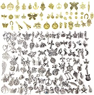 vamei 50pz Gioielli con ciondoli Che Fanno i Pendenti a Farfalla in plastica Fai-da-Te per Il Braccialetto della Collana Charms Creazione di Gioielli Accessori Pendenti con Foglie di Farfalla Miste