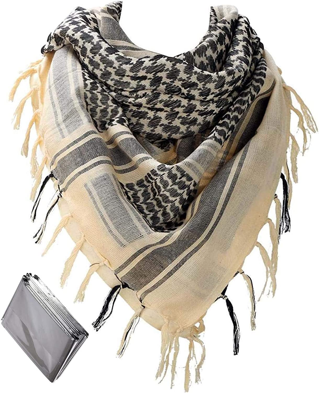 Thicken Shemagh Tactical scarf Men Arab Head Scarf 100% Cotton Beige Military Tactical Desert Scarf Keffiyeh Head Neck Wrap With 1pc Emergency Blanket