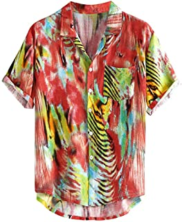 Shirts for Mens Vintage Casual Comfy Button Hawaii Plaid Print Beach Short Sleeve Top Blouse