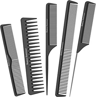 Bardeau Essentials Styling Comb Variety Pack | 5 Piece | Professional Black Carbon Fiber Hair Combs | Detangling Comb | Rat Tail Comb | Teasing Comb | Salon Grade Combo Comb Set for Men and Women