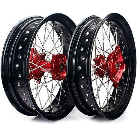TARAZON 17 Supermoto Wheels Rims for Honda CRF250R CRF450R 2014 2015 2016 2017 2018 2019 CRF 250 450 R Hubs Spokes Set