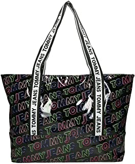 Tommy Jeans Logo Tape Tote PU PT Bag, Black, AW0AW08091