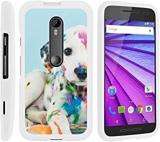 MINITURTLE Compatible with [Motorola Moto G 3rd Generation Case, Moto G (3rd Gen) Case][Snap Shell] Hard Plastic Slim White Snap On Case Protector w/Unique Designs Colorful Puppy