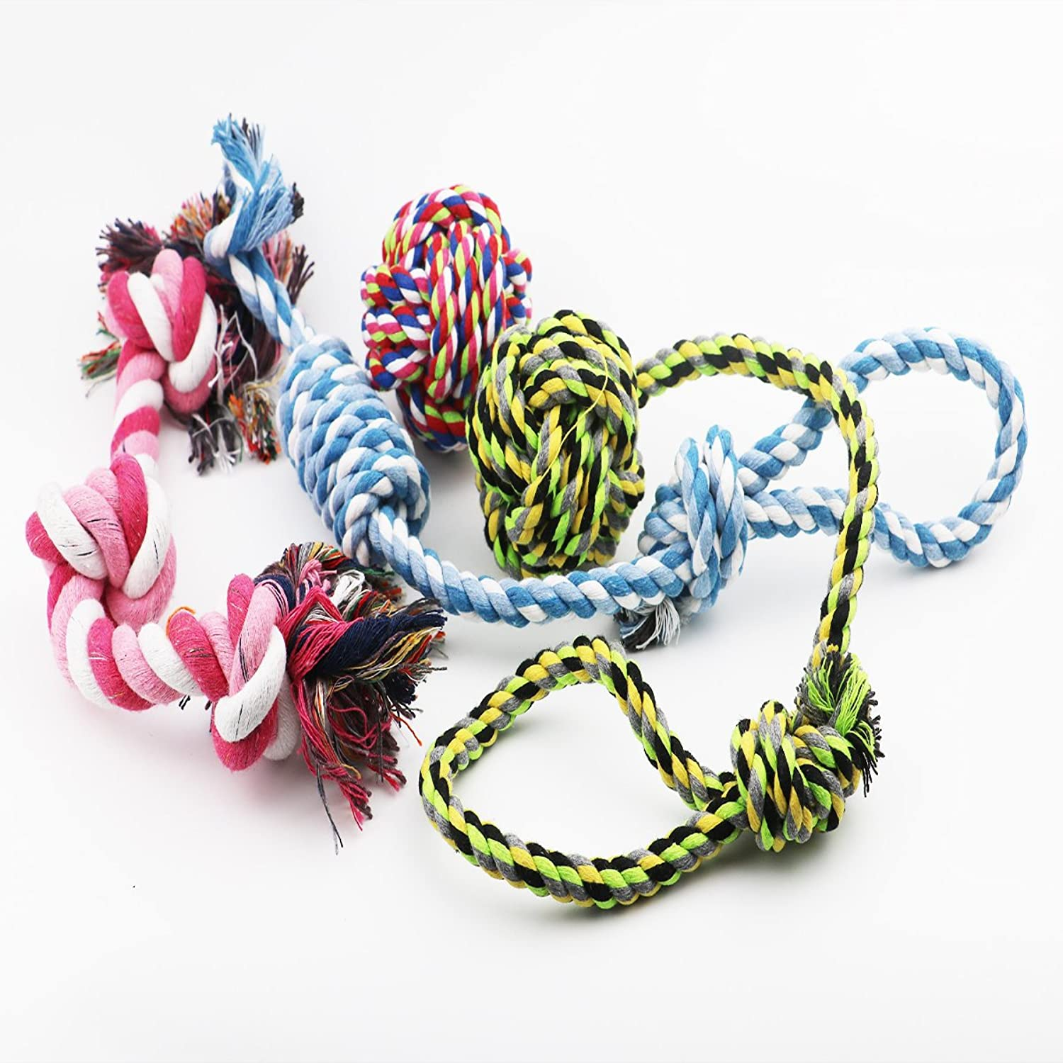 Dog Toys Pack of 4 Assorted Pet Toy Set Gift Set Squeaky Ball Chew Rope Toys for Puppy Small and Medium Dogs by