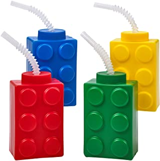 Building Blocks Cups with Straw & Lid - (Pack of 4) Reusable Brick Party Kids Cup for Block Birthday Party Supplies and Fa...