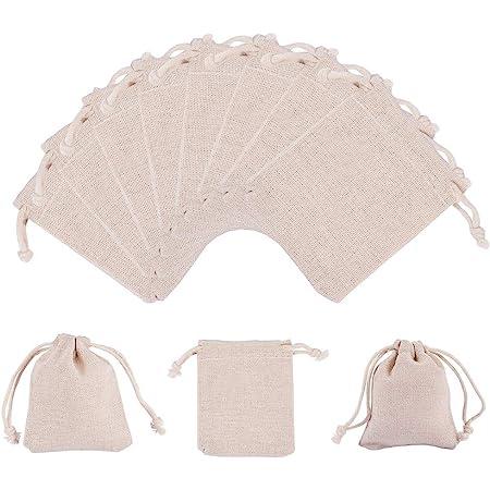 PandaHall Elite - 30pcs 9x8cm Pochon Coton Pochettes Sachets en Coton Rectangle Sac Cadeau à Cordon pour Bijoux Cadeau Mariage, Blanc Floral