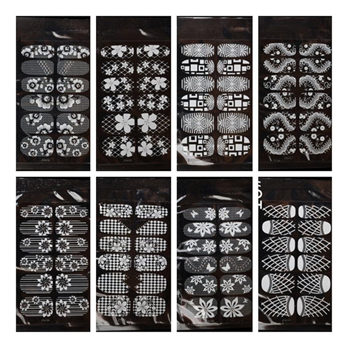 捧げる力強いペース8枚セット花柄ネイルシール ネイルステッカー セット 貼るだけマニキュア 白色 透明 (Bセット)
