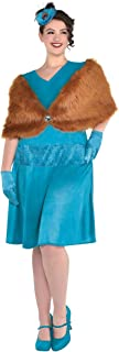 Party City Clue Mrs. Peacock Costume for Adults, Plus Size, Includes a Dress, a Shawl, a Feather Fascinator, and Gloves