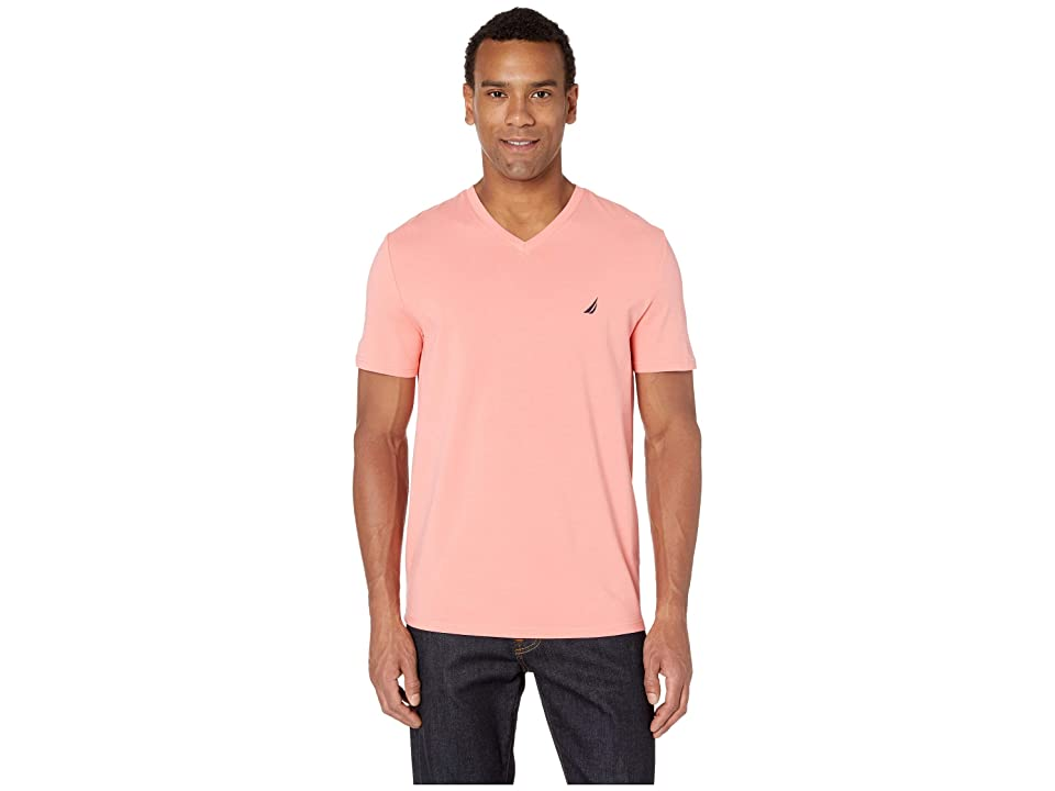 Nautica Short Sleeve Fashion Jersey V-Neck Tee (Pale Coral) Men