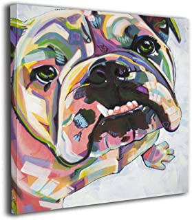 Arnold Glenn Watercolor Bulldog Funny Picture Paintings Canvas Wall Art Prints Modern Decorative Giclee Artwork Wall Decor-Wood Frame Gallery Wrapped