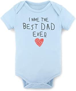 Gift for Dad - I Have The Best Dad Ever Baby Bodysuit Daddy's Day Baby Onesies 100% Cotton