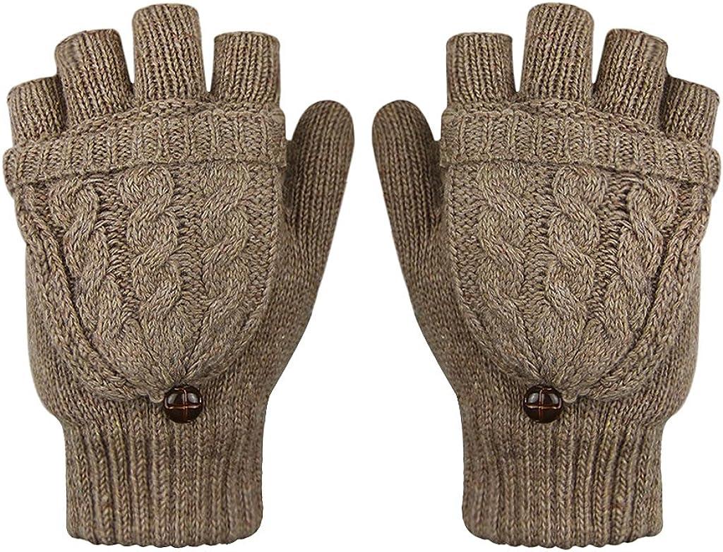 Women Wool Knit Fingerless Gloves Winter Warm Half Finger Flip Gloves Mittens