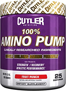 Cutler Nutrition 100% Amino Pump Muscle Building Formula, Fruit Punch, 9.3 Ounce
