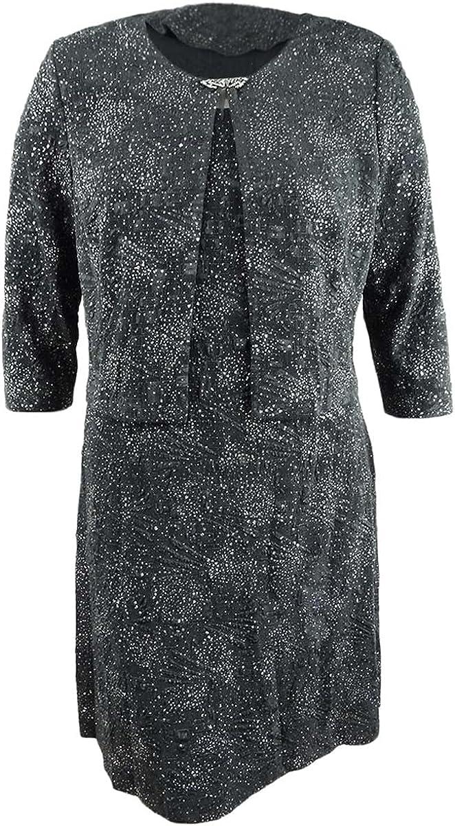 Alex Evenings Women's Short Glitter Knit Jacket Dress