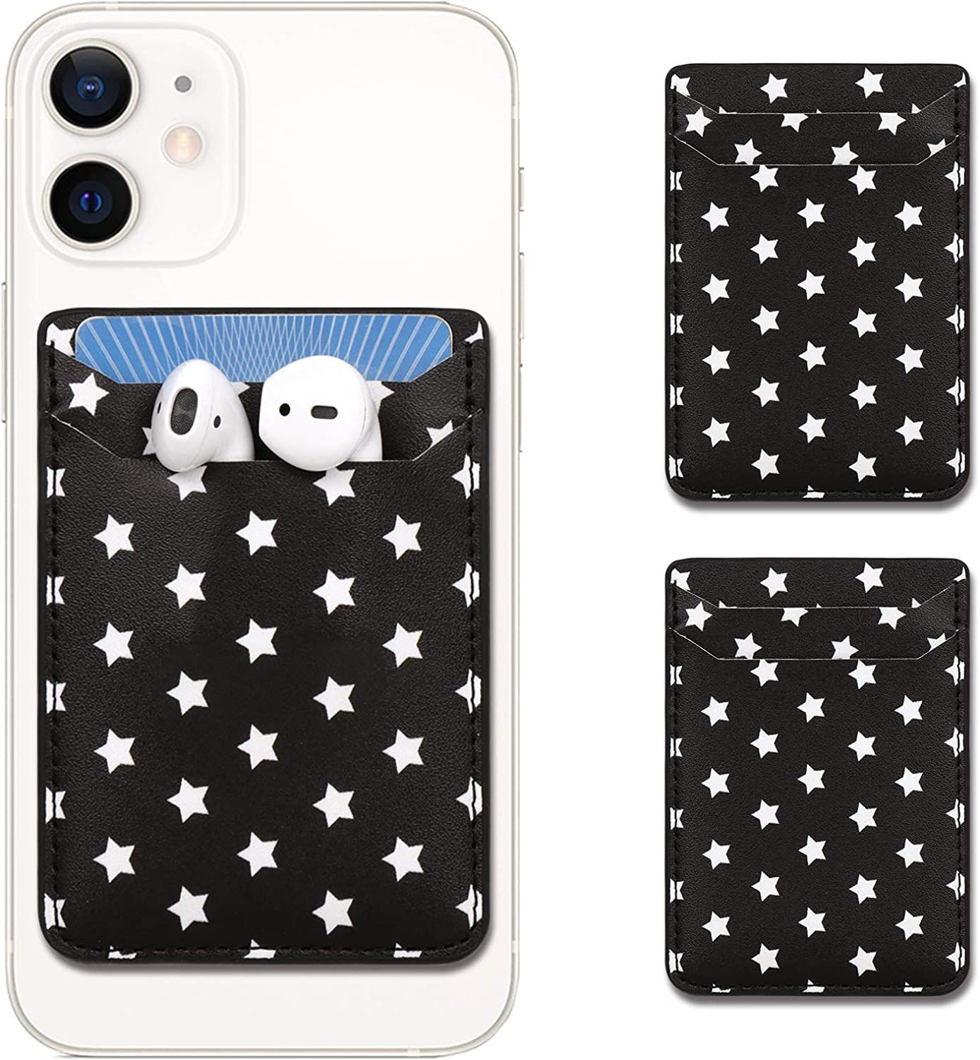 2pcs Star Adhesive Phone Wallet, Credit Card Holder for Back of Phone, Cell Phone Wallet Stick On, Card Holder for Phone Case, Phone Pocket, Compatible with Android Phone Case