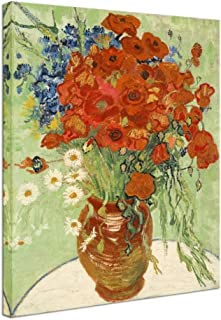 Wieco Art Red Poppies and Daisies Large Canvas Prints Wall Art of Van Gogh Famous Floral Oil Paintings Reproduction Abstract HD Classical Flowers Pictures Artwork for Bathroom Home Decorations