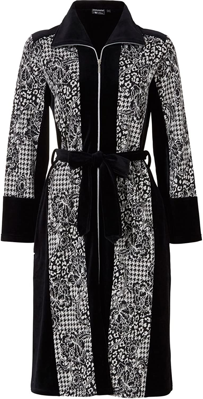Pastunette 70723278999 Women's Luxe Black Geometric Dressing Gown Robe
