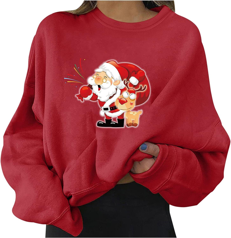 Popularity Christmas Crewneck Sweatshirts for Women discount Womens Santa Lon Print