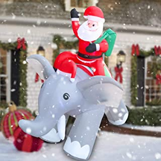 RETRO JUMP 6ft Christmas Inflatable Santa Riding Elephant, Xmas Sint Nicolaas with Build-in LEDs Blow Up Yard Decoration for Holiday Outdoor & Indoor Inflatable Décor