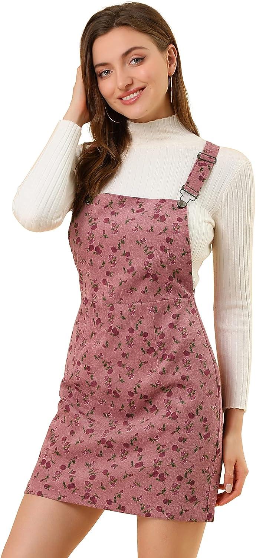 Allegra K Women's Adjustable Strap Pinafore Corduroy Floral Bib Overalls Dress