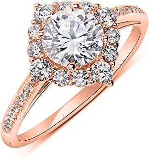 307255767 14K Rose Gold 1.2 cttw Round CZ Solitaire Wedding Engagement Halo Ring