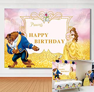 TJ 5x3ft Beaty and The Beast Photo Background Happy Birthday Party Decoration Photography Backdrops Princess Party Supplies Banner Studio Props Booth Vinyl