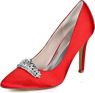 HLONGG Dames Chaussures De Mariée, Pompes Dames De Dentelle, Chaussures De Mariage Strass, Mariage Confortable Hauts Talon...
