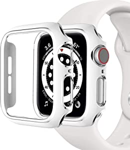 Miimall Compatible with Apple Watch 38mm Case Women Men PC Hard Plated Bumper Lightweight Shockproof Protector Case Cover for Apple Watch 38mm Series 3 2 1(White Silver)