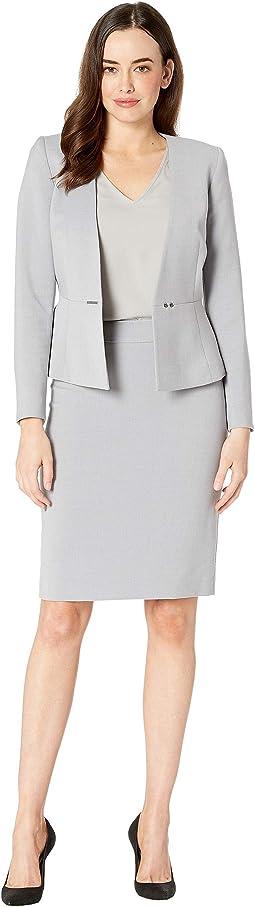 Collarless Bar Snap Closure Skirt Suit