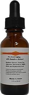 Pro Anti Aging Serum Bamboo Extract, Green Tea, Allantoin, Resveratrol, DMAE, MSM, Hyaluronic Acid (1.2oz, Dropper Dispenser)