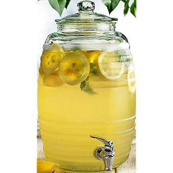 Circleware Sedona - Dispensador de bebidas de vidrio con tapa, jarra de vidrio para agua, jugo, vino, kombucha y bebidas frías, 2,5 galones, transparente