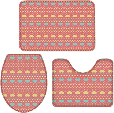 Valentine'S Day Yellow Blue Hearts 3 Piece Plush Bathroom Rugs Set-Non Slip Water Absorbent Shower Bath Mats U-Shape Contoured Toilet Mat Lid Cover 20''X31''+16''X18''+16''X20'' Gift For Her