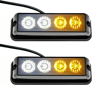 Strobelight Bar 4 LED with Super Bright Emergency Beacon Flash Caution Strobe Light Bar with 17 Different Flashing-2PCS (White&yellow)