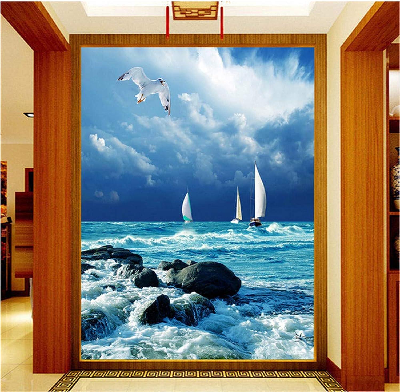 en stock Qbbes Papel Tapiz 3D Mural No Tejido Azul Cielo Cielo Cielo Y Mar Olas Navegación Gaviota Sala De Estar Entrada Corrojoor Gran Pintura De Parojo-200X140Cm  promociones emocionantes