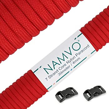 9 Inner Strands Strong Breaking Strength Namvo 100 Feet 4mm Diameter 550 Paracord Mil Spec Type III Nylon Parachute Cord Deep Red
