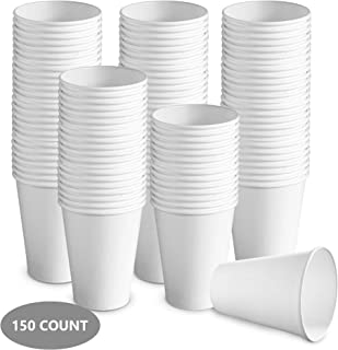 150 count 12 oz White Paper Hot Cups   Disposable Coffee Cups, Party Cups for Hot and Cold Drinks