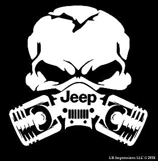 UR Impressions MWht Jp Piston Gas Mask Skull Decal Vinyl Sticker Graphics for Jeep 4x4 Grand Cherokee Wrangler Renegade SUV Wall Window Laptop Matte White 5.5 Inch URI028-MW