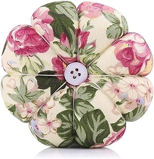 Cojín de alfileres - 1 pieza Agujas de coser de tela de calabaza creativa Cojín de alfileres con cinturón de muñeca elástico(4)