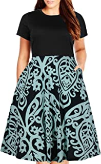 Women's Round Neck Summer Casual Plus Size Fit and Flare Midi Dress with Pocket